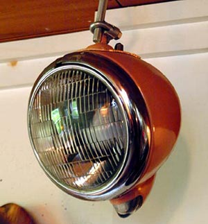 Upcycle old car headlights for retro garden lights