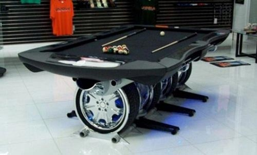 Recycle old car wheels for a new pool table