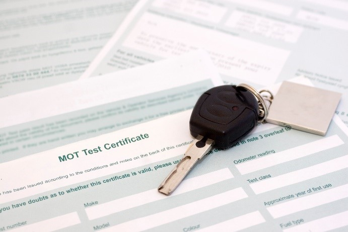 MOT certificate for a used car